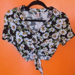 American apparel Daisy print sunflower crop top